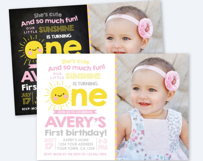 Little Sunshine Invitation with Photo, First Birthday Invitation, Sun Invitation, Summer Party, Personalized Printable Invite, 2 Options