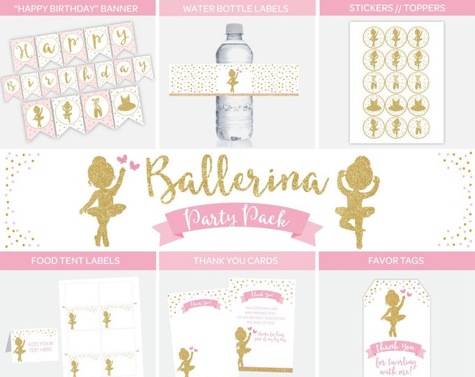 Ballerina Party Pack, Banner, Water labels, Thank You Cards, Favor Tags, Food Tent labels, Toppers, Ballerina Printable Decorations, DIGITAL