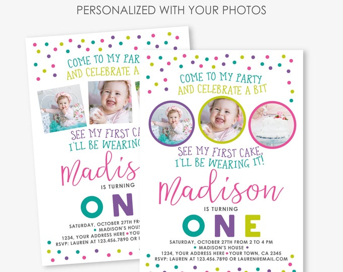Cake Smash Birthday Invitation, Sprinkles Girl first birthday party Invitation, 1st Birthday Personalized Printable Invite, 2 Options
