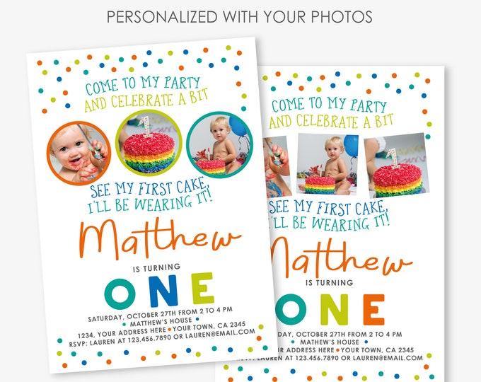 Cake Smash Birthday Invitation, Sprinkles Boy first birthday party Invitation, 1st Birthday Personalized Printable Invite, 2 Options