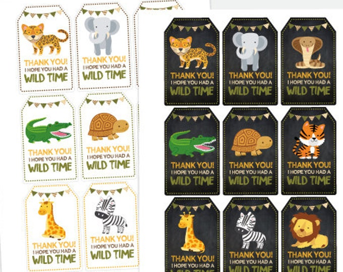 Safari Favor Tags, Zoo Birthday Party, Wild Animal Party, Jungle Printable Thank You Tags, Printable Digital Tags, Instant Download