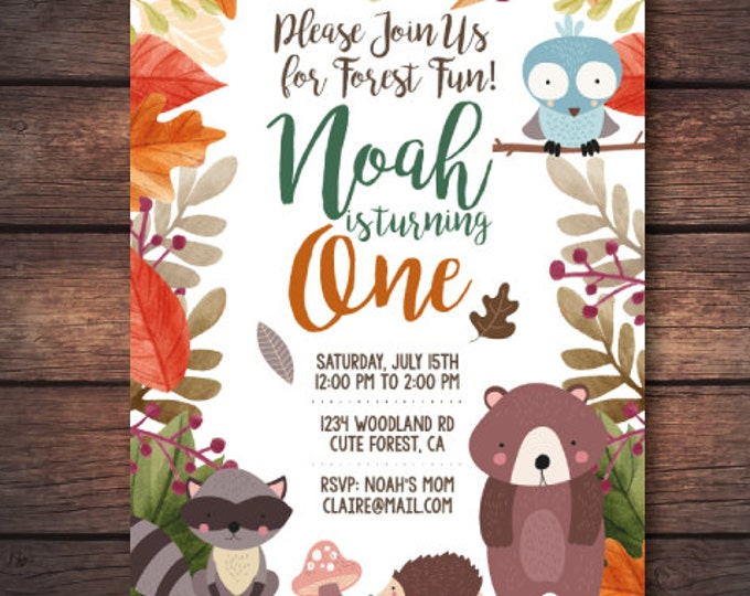 Woodland Birthday Party, Woodland First Birthday Invitation, Woodland Invite, Woodland Printables, Forest Invitation, Digital Invitation