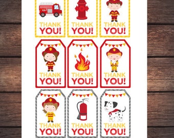 Fireman birthday party, Firefighter thank you tags, Fire fighter favor tags, set of 9, DIGITAL files