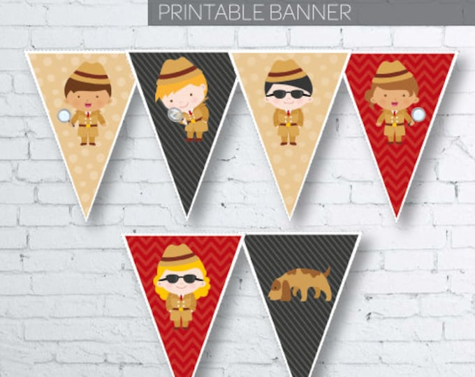 Secret Agent Banner, Detective Birthday Party, Spy Party, Mystery Party, Printable Banner, DIGITAL File, Instant Download