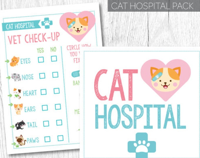 Pet adoption party, Pet hospital, Vet check up, Cat adoption party, Kitty Cat Birthday, Printable Sign, Instant download