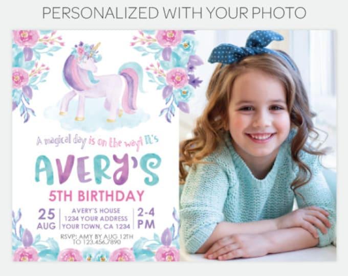 Unicorn Floral Invitation with Photo, Magical Birthday Party, Floral Unicorn Invitation, Spring Summer, Personalized DIGITAL Invitations