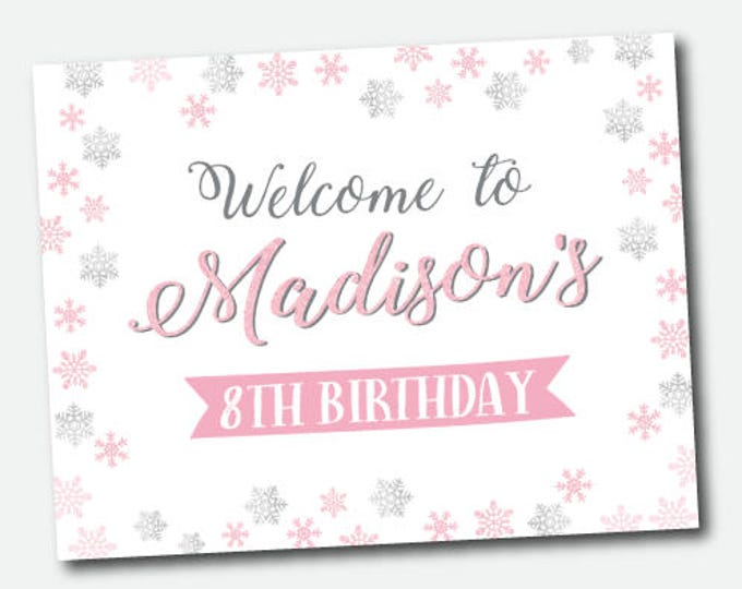 Ice Skating Birthday Party Sign, Welcome sign, Personalized printable sign, Digital poster