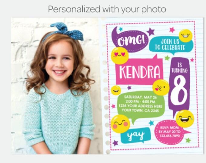 Emoji Birthday Invitation with Photo, Emoji Birthday Party, Emoticon Invitation, Personalized Digital Invitation