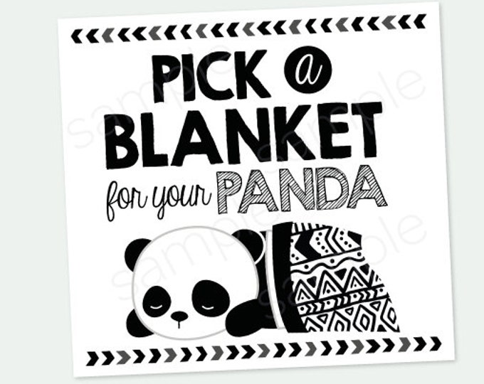 Pick a Blanket for your Panda, Panda Adoption Party, Pet Adoption Party, Birthday Decorations, Digital Printable Sign, INSTANT DOWNLOAD
