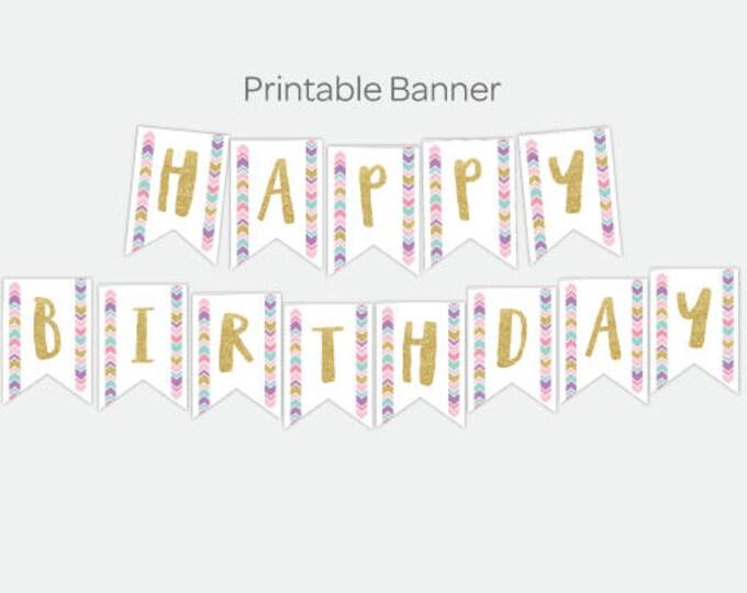Dreamcatcher Printable Banner, Tribal Happy Birthday Banner, DIGITAL Printable Banner