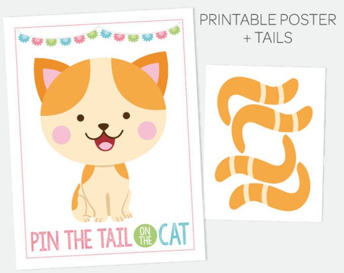 Pin the Tail on the Kitty, Pin the Tail Game, Printable Poster, Cat Party Games, Kitty Birthday Decorations, Printable Digital Sign