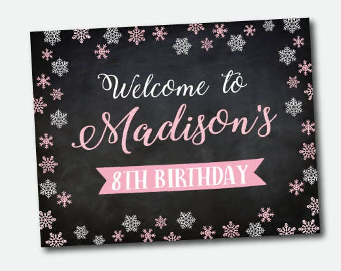 Ice Skating Birthday Party Sign, Chalkboard, Winter wonderland Welcome sign, Personalized printable sign, Digital poster