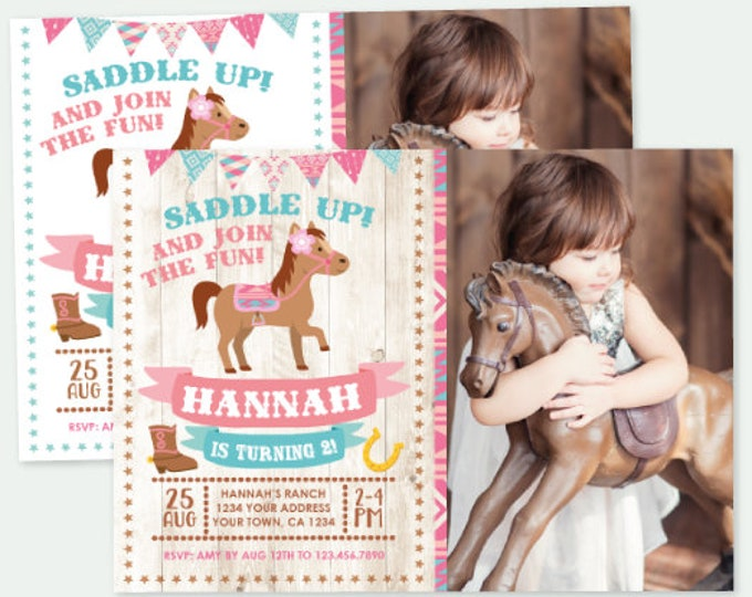 Pony Birthday Invitation with Photo, Cowgirl Birthday Invitation, Horse Birthday Party, Personalized DIGITAL Invitations, 2 Options