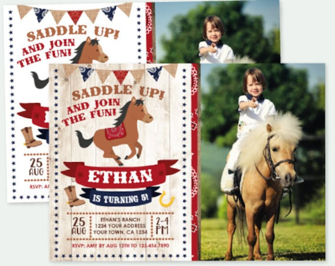 Horse Birthday Invitation with Photo, Pony Birthday Invitation, Buckaroo birthday invitation, Personalized Digital Invite, 2 options