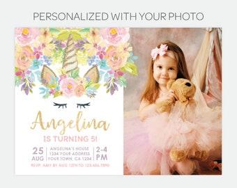 Unicorn Birthday Invitation with Photo, Magical Unicorn Birthday Party, Floral Unicorn Invitation, Personalized DIGITAL Invitations