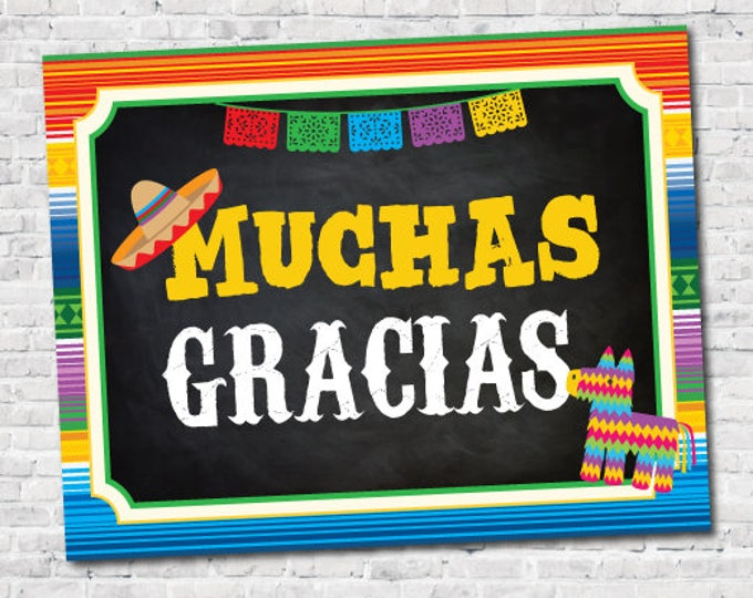Fiesta Decorations, Fiesta Sign, Muchas Gracias Sign, Fiesta, Mexican Party, Instant Download