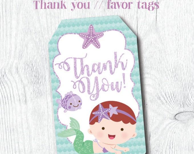 Mermaid thank you tags, Mermaid favor tags, Mermaid Baby Shower, Mermaid First Birthday, Baby Mermaid, Printable Tags, Instant download
