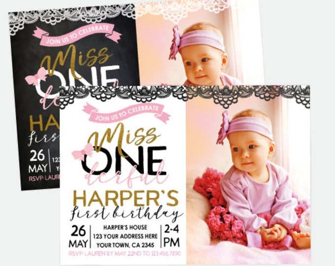 Miss ONEderful Invitation with Photo, Pink Black Gold Party, Little Miss Birthday Invitation, Personalized Digital Invitation, 2 options