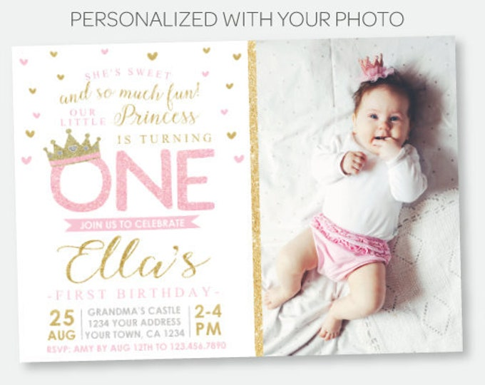 Princess First Birthday Invitation with Photo, Royal Birthday Party, Crown Invitation, Pink Gold Personalized Digital Invitation