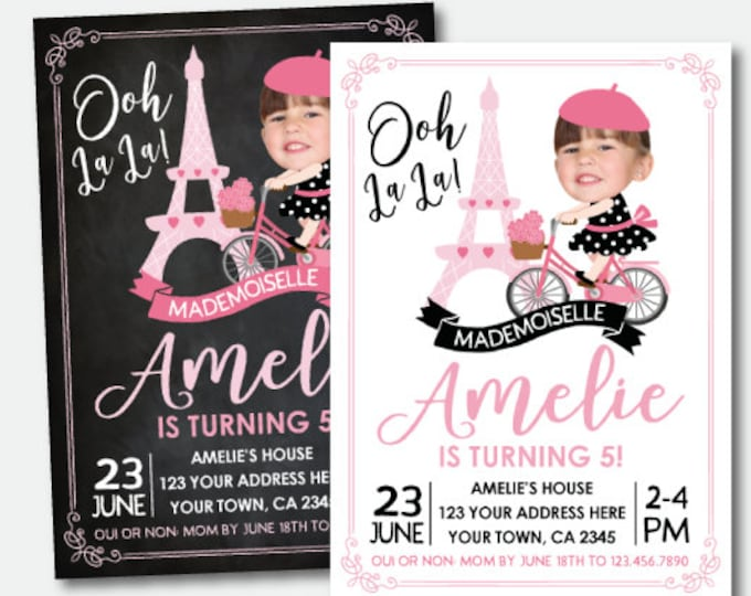 Paris Birthday Invitation with Photo, Bicycle Party, Paris theme Party, Pink and black Invitation, Digital, 2 Options