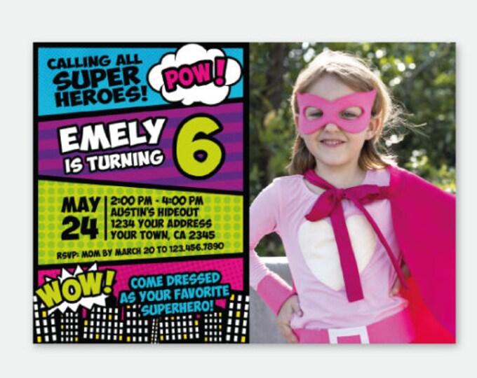 Superhero Girl Invitation with photo, Superheroes Birthday Invitation, Superhero Invite, Personalized Digital Invitation