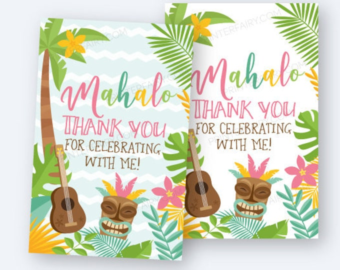 Luau Favor Tags, Hawaiian Party Thank You Tags, Mahalo Tags, Summer Party, Printable Digital Tags, 2 Styles Included, Instant Download