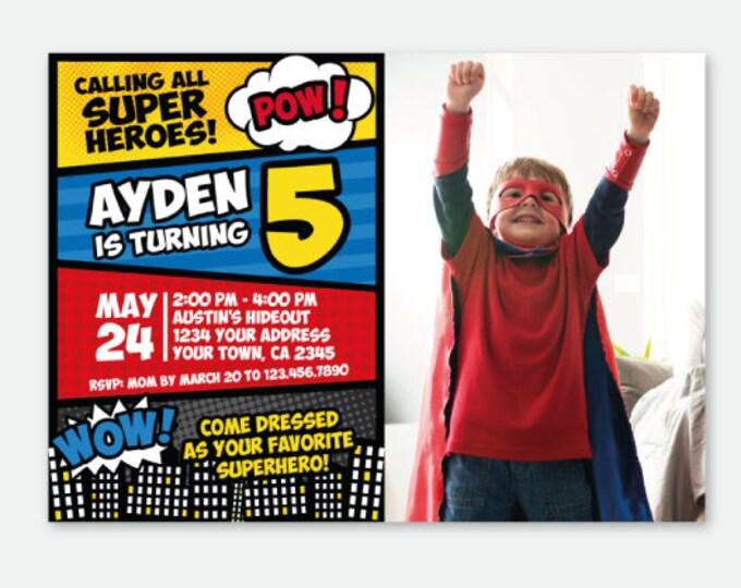 Superhero Invitation with photo, Superheroes Birthday Invitation, Superhero Invite, Personalized Digital Invitation