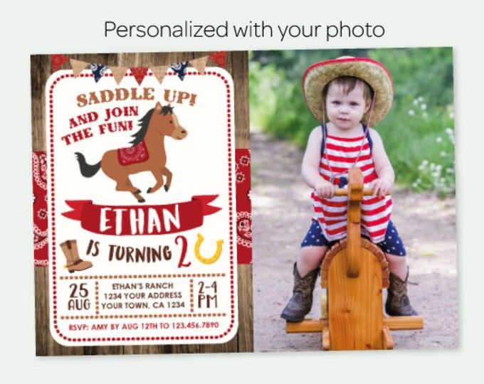 Horse Invitation with Photo, Pony Birthday Invitation, Buckaroo birthday invitation, Personalized Digital Invite, 2 options