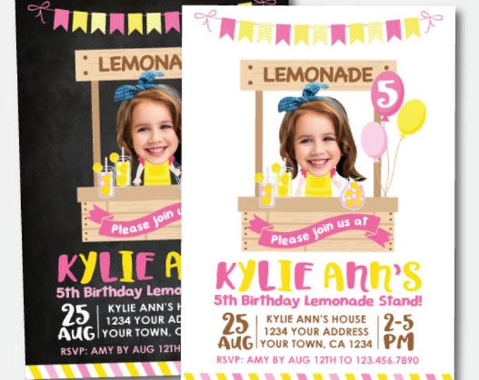 Pink Lemonade Invitation with Photo, Lemonade Party, Lemonade Stand Invitation, Lemonade Birthday, Personalized Printable Invite, 2 options