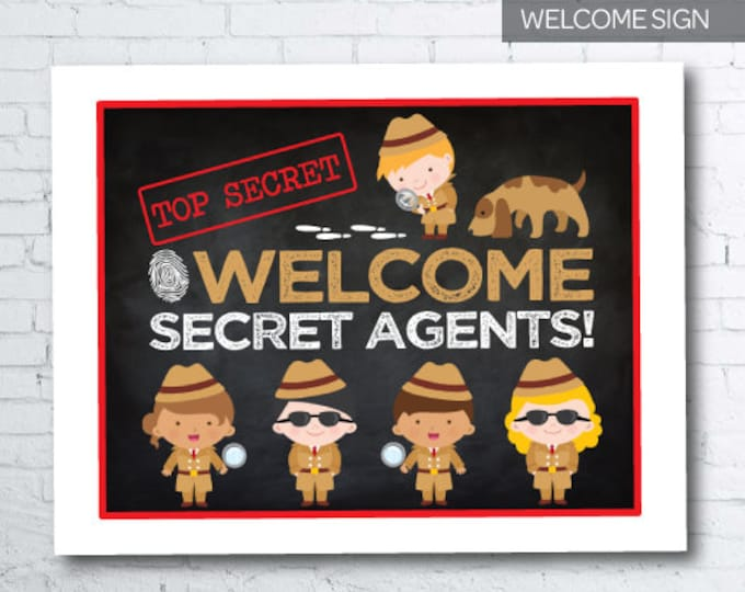 Secret Agent Welcome Sign SET of 2, Detective Birthday Party, Spy Party, Mystery Party, Printable Sign, DIGITAL File, Instant Download