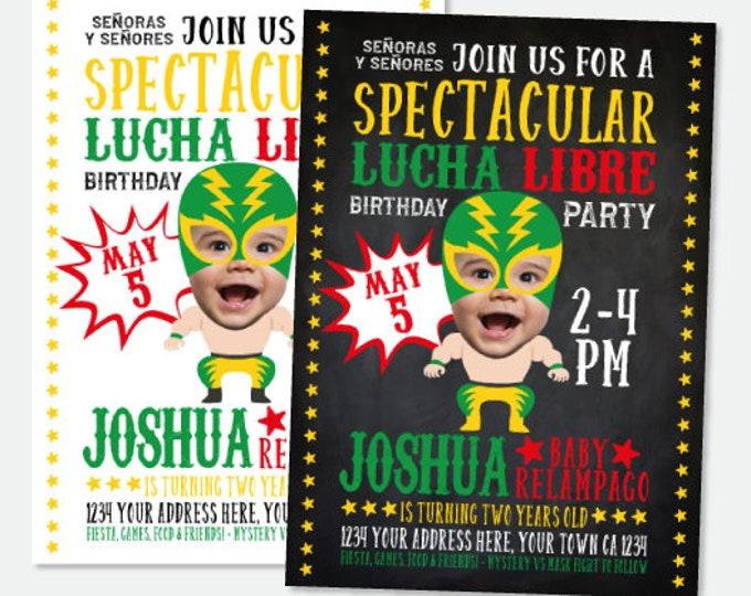 Lucha Libre Invitation with Photo, Cinco de Mayo Birthday Invitation, Fiesta Invitation, Luchador Personalized Digital Invite, 2 Options