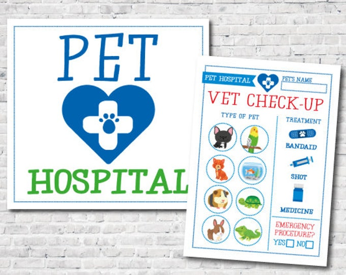 Pet Hospital sign, Vet check up, Pet Adoption Birthday Party, Printable sign and check up, Instant Download