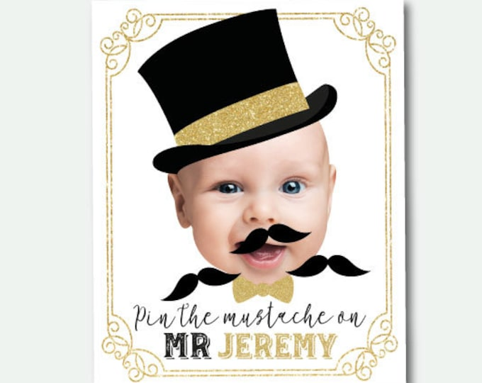 Pin the mustache game, Mr Onederful Birthday Party, Mr Onederful Games, White background Poster, DIGITAL Personalized item
