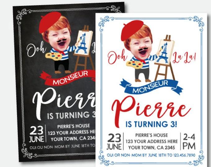 Paris Birthday Invitation with Photo, Art Birthday Party, Artist Invitation, French Birthday Invitation, Personalized Printable Invitation