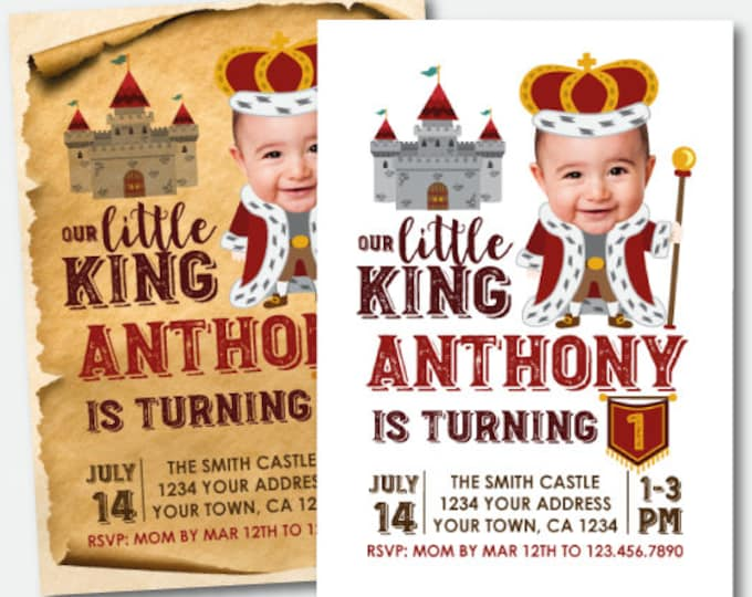 King Birthday Invitation with Photo, Medieval Birthday Invitation, Castle Birthday Invitation, Printable Personalized Invitation, 2 Options