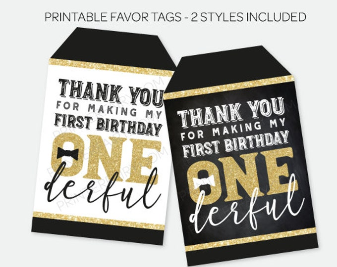 Mr Onederful Tags, Printable Favor Tags, Bow tie Thank You Tags, First Birthday Favor Tags, Black and Gold Labels, INSTANT DOWNLOAD