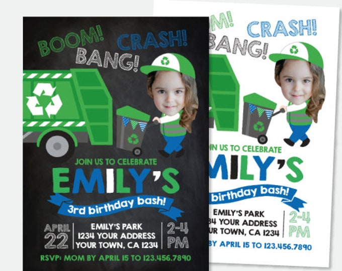 Trash Truck Invitation with Photo, Gargabe Truck Birthday Party, Recycle Girl Birthday Invitation, Personalized Digital Invite, 2 Options