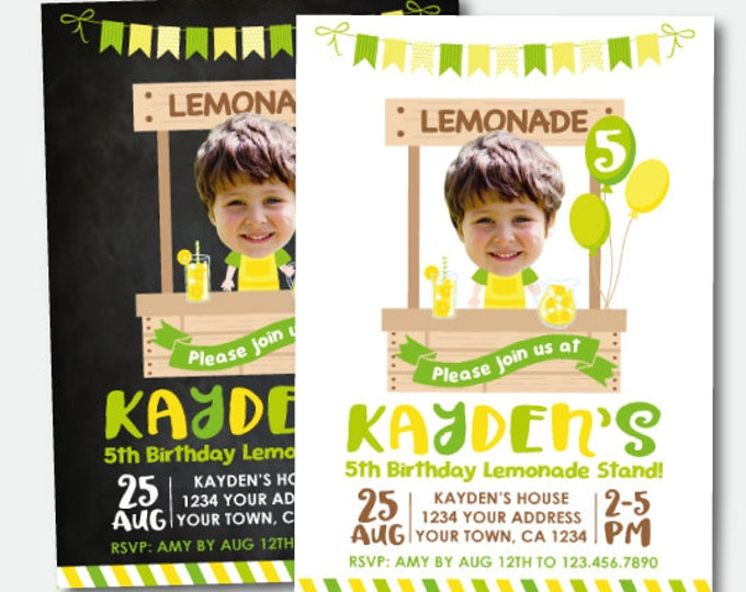 Lemonade Birthday Invitation with Photo, Lemonade Stand Party, Lemonade Birthday, Personalized Printable Invitation, 2 options