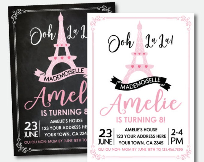 Paris Invitation, French Birthday Party, Ooh lala Invitation, Paris theme Party, Pink and black, Personalized Printable Invitation, 2options