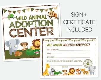 Adopt a Wild Animal, Safari Birthday Party, Safari Sign, Pet Adoption Party, Jungle Birthday Party, Pet Adoption Party, Instant download