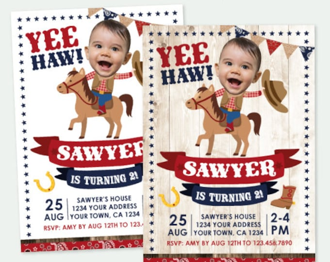 Cowboy Invitation with Photo, Buckaroo Birthday Party, Horse Invitation, Western Birthday Party, Personalized Digital Invite, 2 options