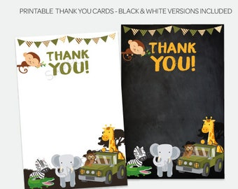 Safari Thank You Cards, Jungle Thank You Notes, Printable Thank you cards, Adventure Birthday Party, Zoo Birthday Party, Instant Download