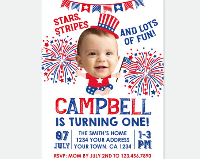 4th of July Invitation with Photo, Little Firecracker Invitation, First Birthday Party, Fourth of July, Personalized Digital Invitation
