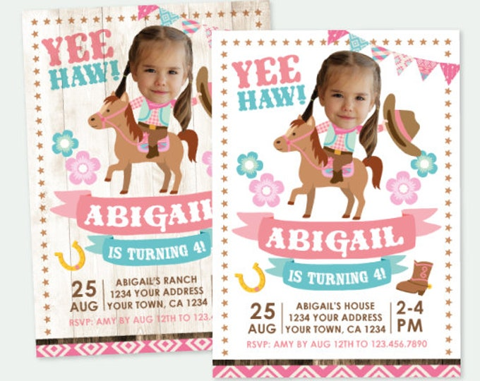Cowgirl Birthday Invitation with Photo, Horse Birthday Party, Pony Birthday Invitation with Picture, Personalized DIGITAL Invite, 2 Options