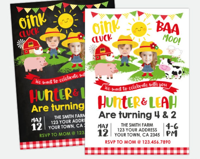 Farm Birthday Invitation With Photo, Sibling Birthday Party, Joint Party Invite, Barnyard Party, Personalized Digital Invitation