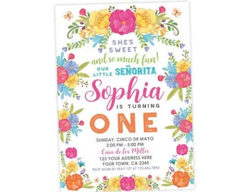 Fiesta 1st Birthday Invitation, Cinco de Mayo First Birthday Party, Little Señorita, Any Age, Personalized Digital Invite, Floral Colorful