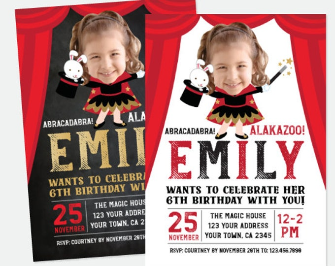 Magician invitation with Picture, Magic party Invitation, Magic show birthday invitation, Personalized Printable with Photo, 2 options