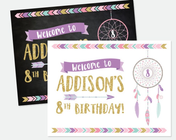 Dreamcatcher Welcome Sign, Wild One Welcome Sign, Tribal Birthday Party Decorations, DIGITAL Personalized Printable Sign, 2 options