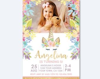 Unicorn Birthday Invitation for Horizontal Photo, Magical Unicorn Birthday Party, Floral Invitation, Personalized DIGITAL Invitation