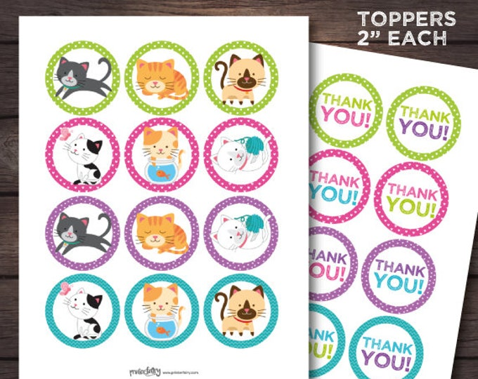 Kitten Birthday, Cat adoption birthday, Cat Thank You Tags, Cat toppers, Kitten printables, Kitty birthday, Digital pack, Instant download